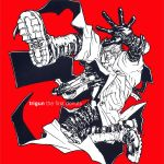 1boy album_cover artist_request cover english gloves gun long_coat official_art red_background simple_background solo sunglasses text trigun vash_the_stampede weapon