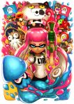 1boy 3girls aori_(splatoon) baseball_cap beanie bike_shorts commander_atarime denchinamazu dj_takowasa domino_mask face_mask flag gloves goggles hat hotaru_(splatoon) inkling jajji-kun_(splatoon) long_hair mask multiple_girls octarian octoball octocopter octotrooper pointy_ears redhead ry-spirit smile splatoon spoilers squid sunglasses super_soaker takozonesu tentacle_hair v