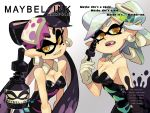 +_+ 2girls alex_ahad aori_(splatoon) black_hair breasts cleavage domino_mask dress earrings english eyebrows eyeliner fang gloves hair_bun highres hotaru_(splatoon) jewelry long_hair looking_at_viewer makeup mask mole mole_under_eye multicolored_hair multiple_girls ponytail short_hair silver_hair splatoon symbol-shaped_pupils tentacle_hair thick_eyebrows twintails two-tone_hair
