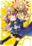 1girl animal_ears breastplate brown_hair cat_ears gloves one_eye_closed paw_gloves red_eyes short_hair silica silica_(sao-alo) sword_art_online thigh-highs tougo twintails