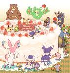 cake christmas eevee espurr food honedge joltik kirlia klefki lucario meowstic miuta no_humans oshawott pikachu piplup pokemon pokemon_(creature) reuniclus sylveon ursaring