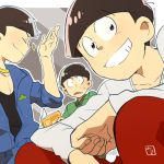 3boys alternate_costume black_hair book bowl_cut brothers choromatsu clothes_around_waist gold_chain jacket_around_waist jumpsuit karamatsu male_focus mito_(mito_1408) multiple_boys osomatsu-kun osomatsu-san osomatsu_(osomatsu-kun) outside_border reading siblings signature smile sparkle squatting triangle_mouth upper_body v-neck