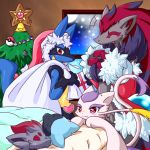 christmas christmas_tree closed_eyes furry gift hat heart highres indoors lucario master_ball mienshao no_humans ornament poke_ball pokemon pokemon_(creature) riolu sack santa_hat shiongaze sleeping snowing staryu window zoroark zorua