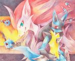 colored_pencil_(medium) lucario no_humans pokemon pokemon_(creature) pokemon_(game) pokemon_bw traditional_media woobat zoroark