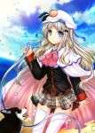 1girl blue_eyes blush bow bowtie cape clouds cloudy_sky dog hat hose jianren key_(company) little_busters! long_hair looking_at_viewer noumi_kudryavka pink_bow plaid plaid_skirt school_uniform silver_hair skirt sky smile solo thigh-highs water_drop white_legwear