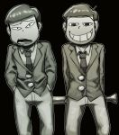 <o>_<o> 2boys arms_behind_back baseball_bat black_background bowl_cut brothers choromatsu cowboy_shot formal grin hands_in_pockets hono1212 jyushimatsu monochrome multiple_boys necktie open_mouth osomatsu-kun osomatsu-san siblings simple_background smile suit