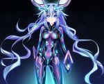 1girl aqua(suibotsu) bangs blue_eyes blue_hair bodysuit breasts hair_between_eyes headgear long_hair looking_at_viewer neptune_(choujigen_game_neptune) neptune_(series) next_purple purple_hair purple_heart shin_jigen_game_neptune_vii solo symbol-shaped_pupils very_long_hair