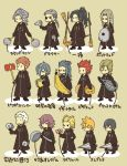 >_< 2girls 6+boys antenna_hair axel_(kingdom_hearts) banana black_coat black_hair blonde_hair blue_hair broom brown_hair cd check_translation chibi closed_eyes demyx dragonfly dual_wielding everyone eyepatch facial_hair facial_mark fan food fruit gloves grey_hair hair_dryer hair_over_one_eye hairlocs kingdom_hearts kingdom_hearts_358/2_days ladle larxene lexaeus lid long_hair luxord marluxia multiple_boys multiple_girls o_o organization_xiii paper_fan pigeon-toed pink_hair pizza ponytail racket redhead roxas saix sandwich saucepan_lid scar simple_background spiky_hair squeaky_mallet standing t_t tennis_racket translation_request umbrella vexen weapon xaldin xemnas xigbar xion_(kingdom_hearts) zexion |_|