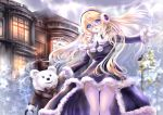 1girl :o bangs bear black-framed_glasses black_eyes blonde_hair blue_eyes blush bowtie brown_hat brown_jacket building cane capelet clouds cloudy_sky coat earmuffs fir_tree floating_hair formal fur-trimmed_coat fur_trim garter_straps glasses gloves gorua_(youce01) hat head_tilt holding_hands lamppost legs light long_hair long_sleeves looking_at_viewer magic mini_top_hat original outdoors outstretched_arm pom_pom_(clothes) purple_coat semi-rimless_glasses sky smile standing star suit thigh-highs top_hat under-rim_glasses very_long_hair white_fur white_gloves white_legwear window winter_clothes winter_coat