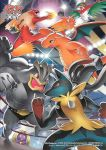 antennae blaziken boxing_ring claws dragonite fighting fire hawlucha horn jynx kicking lights lucario machamp mega_lucario multiple_arms no_humans official_art pokemon pokemon_(creature) pokemon_(tcg) punching red_eyes spikes wings wrestling_ring