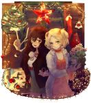 2girls :d alternate_costume alternate_hairstyle antenna_hair bag bangs bel_(pokemon) bell blonde_hair blue_eyes blue_ribbon bow box braid breasts brick brown_hair cable character_request choker christmas_ornaments cleavage closed_mouth dress emje_(uncover) flower fur_coat gift gift_box glass green_eyes hair_between_eyes hair_over_shoulder hair_ribbon holding holding_flower indoors jacket lamp long_hair looking_at_viewer miniskirt mistletoe multiple_girls open_mouth orange_bow orange_dress orange_ribbon poke_ball pokemon pokemon_(creature) pokemon_(game) pokemon_bw pom_pom_(clothes) ribbon sawsbuck skirt small_breasts smile socks star swept_bangs teeth touko_(pokemon) two_side_up very_long_hair window winter wood