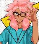 1boy adjusting_glasses blue_eyes dark_skin glasses inazuma_eleven inazuma_eleven_(series) inazuma_eleven_go jewelry long_hair male_focus mosako multiple_boys necklace one_eye_closed pink_hair smile tsunami_jousuke