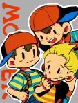3boys backpack bag baseball_cap blonde_hair brown_hair child copyright_name grey_background hand_to_own_mouth hands_on_hips hat lucas male_focus mother_(game) mother_1 mother_2 mother_3 multiple_boys neckerchief nervous ness ninten oto red_legwear shirt sideways_hat simple_background socks solid_oval_eyes striped striped_shirt whisker_markings