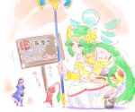 2girls artist_name bandaid bare_shoulders blue_hair blush boots cape commentary_request dress fire_emblem fire_emblem:_kakusei gauntlets green_eyes green_hair height_difference jewelry kid_icarus kid_icarus_uprising laurel_crown long_hair lucina minigirl multiple_girls necklace palutena pikmin pikmin_(creature) pout scratches signpost squatting staff super_smash_bros. torichamaru translation_request twitter_username