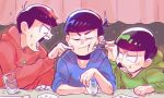 3boys arm_rest black_hair bowl_cut cheek_poking chopsticks choromatsu cup drinking_glass hoodie karamatsu multiple_boys nanika_(nnkgh) osomatsu-kun osomatsu-san osomatsu_(osomatsu-kun) poking shouting sitting sweat upper_body