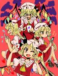 4girls blonde_hair cellphone clone flandre_scarlet four_of_a_kind_(touhou) hat heart highres iphone komaku_juushoku multiple_girls multiple_persona musical_note one_eye_closed phone red_eyes short_hair side_ponytail smartphone touhou wings