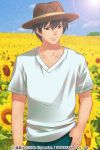 1boy akasaka_mamoru black_hair field flower flower_field hat higurashi_no_naku_koro_ni izumi_natsuka short_hair smile solo sunflower sunlight