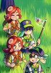 1boy 3girls alternate_costume artist_name backpack bag closed_eyes commentary domino_mask eyebrows flag grass green_eyes green_hair happy hat inkling jenna_brown long_hair mask medal multiple_girls no_mask octarian one_eye_closed ponytail redhead smile splatoon takozonesu tentacle_hair thick_eyebrows