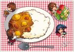 2015 4girls :d :o akagi_(kantai_collection) alternate_costume apron bangs black_dress black_legwear black_shoes blue_hair blush bowl bowtie brown_hair carrot chibi closed_mouth cooking_pot curry curry_rice dress food from_above gloves hiryuu_(kantai_collection) holding holding_food kaga_(kantai_collection) kantai_collection ladle long_hair looking_at_viewer lying meal meat menu minigirl multiple_girls on_side open_mouth orange_eyes otabe_sakura oversized_object plaid plate pot potato puffy_short_sleeves puffy_sleeves red_gloves red_skirt rice rounded_corners salad shirt shoes short_hair short_sleeves side_ponytail skirt sleeping smile souryuu_(kantai_collection) sparkle spoon standing standing_on_one_leg tomato twintails waist_apron white_shirt