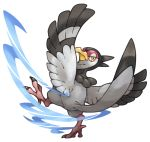 bird feathered_wings feathers no_humans pearl7 pokemon pokemon_(creature) pokemon_(game) pokemon_bw simple_background solo tranquill white_background wings yellow_eyes