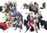 arita_youko armor barefoot blonde_hair brown_hair cape cefca_palazzo chaos_(dff) cloud_of_darkness clown cosmos_(dff) crossed_arms dissidia_final_fantasy dress emperor_(ff2) emperor_palamecia everyone exdeath extra_arms famicom feet final_fantasy final_fantasy_i final_fantasy_ii final_fantasy_iii final_fantasy_iv final_fantasy_ix final_fantasy_v final_fantasy_vi final_fantasy_vii final_fantasy_viii final_fantasy_x final_fantasy_xi final_fantasy_xii gabranth garland_(ff1) golbeza headband helmet highres horns jecht judge_gabranth kefka_palazzo kuja multi_arm multi_limb multiple_girls nes nintendo_ds orz playing_games playstation playstation_2 playstation_portable pocketstation psp rogues_gallery sephiroth silver_hair smile snake snes spoilers super_famicom tarutaru tattoo television ultimecia video_game video_games white_hair wings