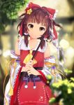 1girl ascot bow brown_eyes brown_hair detached_sleeves flower gohei hair_bow hair_flower hair_ornament hair_tubes hakurei_reimu highres looking_at_viewer ribbon sera_(mrvles) short_hair smile solo touhou