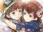 1boy 1girl arms_around_neck brown_hair cherry_blossoms goggles hairband hat open_mouth pazu saya_(mychristian2) sheeta smile studio_ghibli tenkuu_no_shiro_laputa