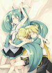 blonde_hair closed_eyes hatsune_miku kagamine_len kagamine_rin long_hair midriff necktie short_hair shorts siblings skirt sleeping smile twins twintails very_long_hair vocaloid