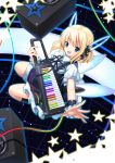 bad_id blonde_hair blue_eyes highres instrument keyboard keyboard_(instrument) keytar koi_(koisan) original rainbow robot_ears speaker star wings