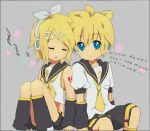 back_to_back bad_id blonde_hair blue_eyes closed_eyes detached_sleeves engrish hair_ornament hair_ribbon hairclip headphones kagamine_len kagamine_rin midriff necktie ribbon short_hair siblings sitting sleeping tooi twins vocaloid