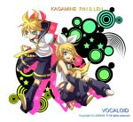 blonde_hair blue_eyes hair_ornament hair_ribbon hairclip headphones headset kagamine_len kagamine_rin midriff necktie ribbon riku-69 short_hair shorts siblings smile twins vocaloid wink