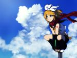 blonde_hair blue_eyes cloud clouds hair_ornament hair_ribbon hairclip kagamine_rin midriff oharu ribbon scarf short_hair shorts sky smile vocaloid wind