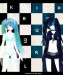 aqua_hair bangs belt bikini bikini_top black_hair black_rock_shooter black_rock_shooter_(character) blue_eyes checkered choker closed_eyes coat front-tie_top gloves glowing glowing_eyes hairband hatsune_miku headphones headset highres hood jacket long_hair midriff multiple_girls navel pale_skin see-through short_shorts shorts sign_(artist) star swimsuit twintails uneven_twintails vocaloid