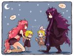 animal_ears aqua_eyes barefoot blonde_hair blue_eyes cat_ears chibi child hair_ornament hair_ribbon hairclip kagamine_len kagamine_rin kamui_gakupo long_hair megurine_luka midriff moon nia_(four_winds) nia_(pixiv774722) pink_hair purple_hair ribbon short_hair very_long_hair vocaloid