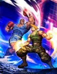 2boys american_flag bared_teeth black_hair blonde_hair boots boxing_gloves camouflage camouflage_pants combat_boots dark_skin dog_tags fighting genzoman guile m_bison male_focus manly missing_tooth multiple_boys muscle pants shorts sonic_boom street_fighter tank_top tattoo thigh_pouch very_dark_skin