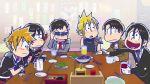 6+boys :3 :d adjusting_sunglasses alcohol armor ascot bangs beer black_hair blazer blonde_hair blush bored brothers brown_hair cape cellphone chopsticks choromatsu cloud_strife code_geass coffee commentary cropped_jacket crossover cup d: drinking_glass drinking_straw excited final_fantasy final_fantasy_vii fingerless_gloves food frown fukuyama_jun gekkan_shoujo_nozaki-kun glass gloves hair_between_eyes half-closed_eyes heart heart_in_mouth holding_phone ice_cube ichimatsu irino_miyu jacket jyushimatsu kamiya_hiroshi karamatsu kingdom_hearts kuroshitsuji lelouch_lamperouge levi_(shingeki_no_kyojin) long_sleeves looking_at_another male_focus military military_uniform mug multiple_boys multiple_crossover nakamura_yuuichi necktie nozaki_umetarou ono_daisuke open_mouth osomatsu-kun osomatsu-san osomatsu_(osomatsu-kun) parody phone plate red_necktie restaurant rosel-d sakurai_takahiro school_uniform sebastian_michaelis seiyuu_connection sextuplets shingeki_no_kyojin siblings sleeveless smile sora_(kingdom_hearts) spiky_hair style_parody sunglasses todomatsu uniform white_gloves wine wooden_table