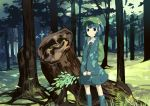 1girl backpack bag blue_boots blue_eyes blue_hair blue_skirt boots cabbie_hat dappled_sunlight day expressionless forest grass hat holding_branch kawashiro_nitori key_necklace light_rays moss nature rubber_boots scenery short_hair skirt solo sunlight touhou tree_stump two_side_up uwa