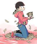 1boy ;) black_hair blush bowl_cut denim gradient gradient_background hoodie itoda_(110da) jeans kneeling male_focus money one_eye_closed osomatsu-kun osomatsu-san osomatsu_(osomatsu-kun) pants simple_background smile solo