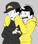 2boys armband black_hair bowl_cut cheek_squash crossed_arms dual_persona grey_background hoodie jyushimatsu looking_at_another multiple_boys open_mouth osomatsu-kun osomatsu-san simple_background sleeves_past_wrists smile spot_color uniform upper_body