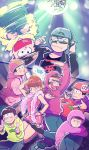 1girl 6+boys backwards_hat baseball_cap beanie black_hair black_legwear brothers brown_hair buck_teeth chain choromatsu disco_ball dj dress facial_hair fan feather_boa glowstick hair_ribbon hairband hat heart heart_in_mouth highres hoodie ichimatsu iyami jacket jyushimatsu karamatsu microphone multiple_boys mustache oniyama831 osomatsu-kun osomatsu-san osomatsu_(osomatsu-kun) ribbon sextuplets sheeeh! short_twintails siblings sideways_hat smile sunglasses todomatsu twintails yowai_totoko