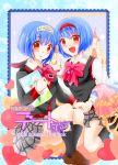 2girls blue_hair kurage_(kurage19) little_busters! multiple_girls nishizono_midori nishizono_mio red_eyes school_uniform short_hair siblings sisters tiara twins