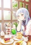 1girl bangs blueberry blunt_bangs blush brown_eyes butter cake cheesecake chin_rest dessert expressionless food fruit gloves hair_ribbon hair_tie hand_on_own_cheek headgear hime_cut indoors kantai_collection long_hair murakumo_(kantai_collection) nathaniel_pennel pancake parfait plate raspberry ribbon sailor_dress school_uniform silver_hair sitting solo sweets syrup table window