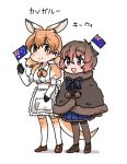 2girls :> :d ankle_boots anyan_(jooho) apron arms_at_sides australian_flag black_gloves blue_eyes blue_skirt blush_stickers boots bow brown_boots brown_capelet brown_eyes brown_footwear brown_gloves brown_hair brown_legwear brown_shoes buttons capelet character_name closed_mouth dot_nose drawstring extra_ears eyebrows_visible_through_hair eyelashes flag frilled_apron frills full_body fur-trimmed_capelet fur-trimmed_skirt gloves gradient_hair gradient_legwear hair_between_eyes hand_up height_difference holding holding_flag juliet_sleeves kangaroo_ears kangaroo_tail kemono_friends long_sleeves looking_at_viewer looking_away low_twintails mary_janes medium_hair mini_flag multicolored multicolored_clothes multicolored_hair multicolored_legwear multiple_girls neck_ribbon north_island_brown_kiwi_(kemono_friends) object_on_head on_head open_mouth orange_hair orange_legwear orange_ribbon pantyhose pink_hair pleated_skirt pocket pom_pom_(clothes) puffy_sleeves red_kangaroo_(kemono_friends) ribbon shadow shoes short_hair short_twintails simple_background skirt smile standing tareme thigh-highs twintails two-tone_hair two-tone_legwear waist_apron wavy_hair white_apron white_background white_bow white_hair white_legwear wing_collar