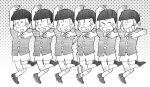 6+boys black_hair bowl_cut brothers child choromatsu closed_eyes gradient gradient_background grey_background heart heart_in_mouth ichimatsu jyushimatsu karamatsu monochrome mujiro multiple_boys osomatsu-kun osomatsu_(osomatsu-kun) polka_dot polka_dot_background sextuplets sheeeh! short_sleeves shorts siblings simple_background smile todomatsu