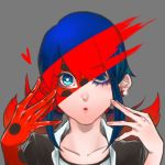 1girl blue_eyes blue_hair ear_studs earrings eyelashes face grey_background highres jewelry joker_(joker_sin) ladybug_(character) lips looking_at_viewer marinette_cheng miraculous_ladybug one_eye_closed polka_dot puckered_lips revealing_cutout school_uniform single_glove solo