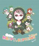 :3 bebe_(ad234_tenrou) black_hair black_sclera blonde_hair blue_hair cat chibi closed_eyes crossed_arms curly_hair dated formaggio gelato ghiaccio glasses gloves green_hair grey_hair hands_on_own_cheeks hands_on_own_face happy_birthday hat heart illuso jojo_no_kimyou_na_bouken mask melone one_eye_closed open_mouth pesci prosciutto quad_tails red_eyes redhead risotto_nero smile sorbet