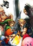 4boys :o blue_eyes blush brown_fur brown_gloves clenched_hand clenched_teeth cloud_strife collar donkey_kong donkey_kong_(series) earrings emblem facial_hair final_fantasy final_fantasy_vii fingerless_gloves fireball gloves gorilla hat highres holding_sword holding_weapon huge_weapon jewelry kirby kirby_(series) link looking_at_another looking_at_viewer mario mario_(series) monkey mr._game_&_watch multiple_boys muscle mustache necktie nomura_tetsuya open_mouth red_necktie scabbard sheath shield simple_background spiky_hair super_mario_bros. super_smash_bros. sword teeth the_legend_of_zelda triforce unsheathed weapon white_background white_gloves