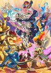 4girls 6+boys aqua_dress armor barefoot blonde_hair blue_eyes boots bow_(weapon) bowser bracelet brown_shoes cape chiko_(mario) claws crown dress earrings elise_(fire_emblem_if) facial_hair fire fire_emblem fire_emblem_if full_body gauntlets gloves glowing glowing_sword glowing_weapon grass greninja gun hair_over_one_eye hairband hat highres hill holding_sword holding_weapon horns jewelry kid_icarus kid_icarus_uprising kneeling kozaki_yuusuke long_hair mario mario_(series) marx_(fire_emblem_if) metroid multiple_boys multiple_girls muscle mustache my_unit_(fire_emblem_if) pit_(kid_icarus) pointy_ears pokemon pokemon_(game) pokemon_xy ponytail red_eyes rosetta_(mario) ryouma_(fire_emblem_if) samus_aran sandals shoes short_hair shuriken silver_hair spiked_bracelet spikes standing star star_earrings stun_gun super_mario super_mario_bros. super_mario_galaxy super_smash_bros. sweatdrop sword thigh-highs thigh_boots tongue tongue_out twintails very_long_hair wand water weapon white_gloves wrist_cuffs zero_suit