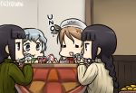 4girls alternate_costume black_hair braid brown_hair card_game commentary_request dated hamu_koutarou kantai_collection kitakami_(kantai_collection) kotatsu littorio_(kantai_collection) long_hair multiple_girls playing_games silver_hair table tagme wavy_hair