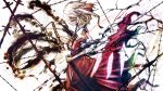 1girl barbed_wire blonde_hair chain colored_eyelashes denpa_rasaito flandre_scarlet from_side grin inkblot necktie no_hat profile red_eyes sheath short_hair smile solo sword touhou unsheathing weapon